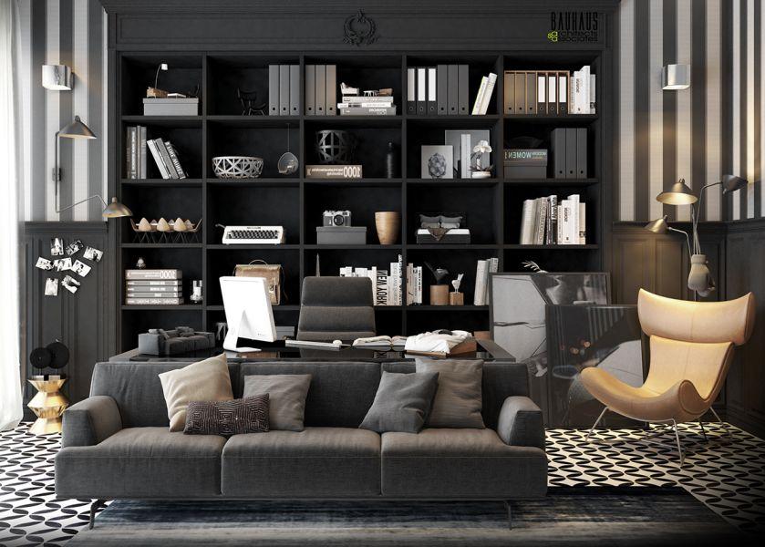 Кабинет с большим диваном