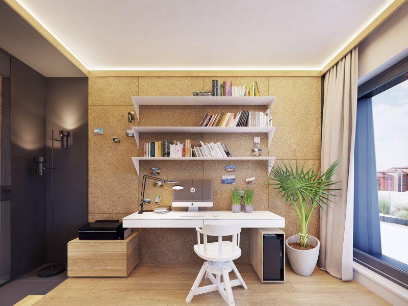 Интерьер кабинета в желтых тонах