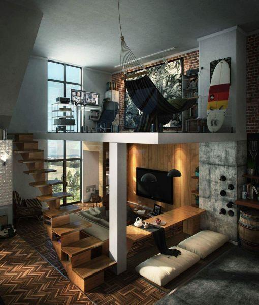 Интерьера кабинета в апартаментах лофт