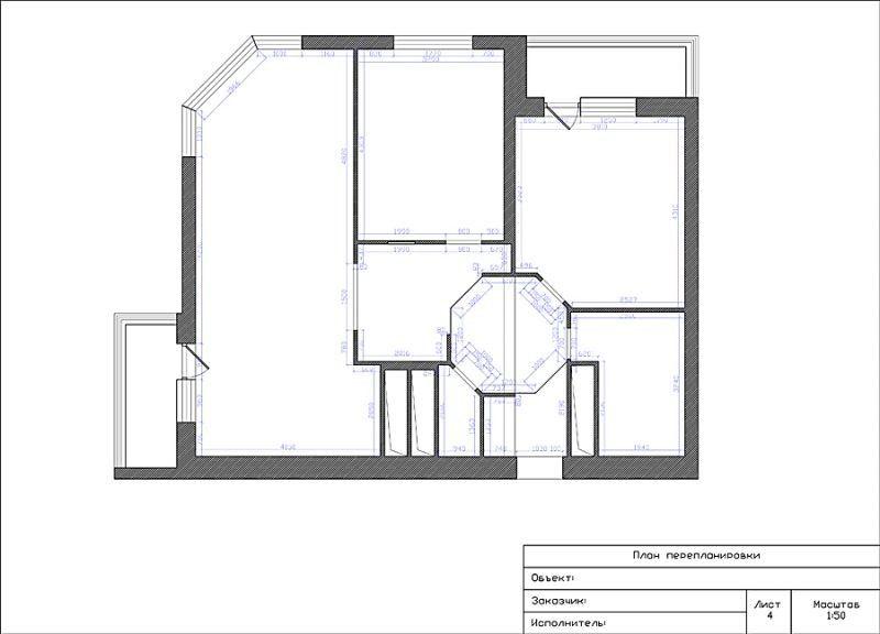 План помещения после перепланировки с обмерами