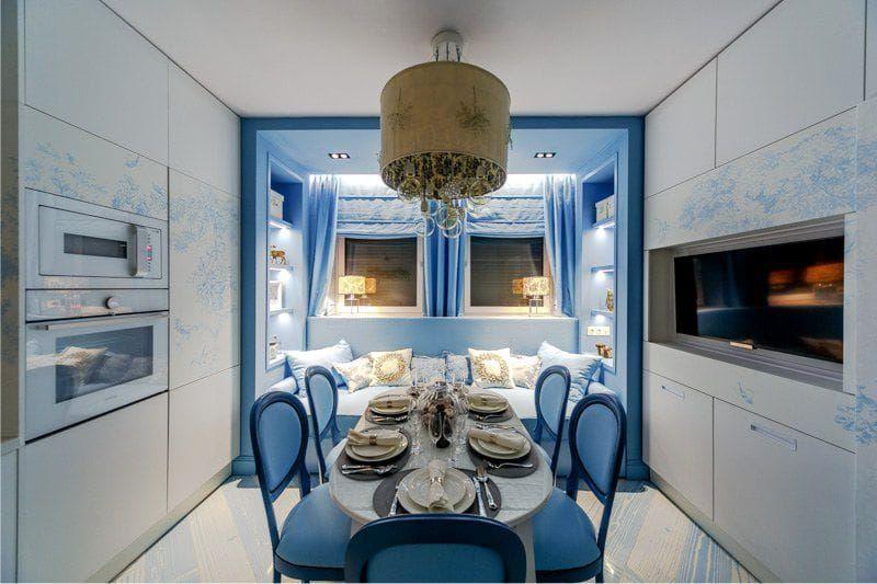 Кухня с синими стенами - фото