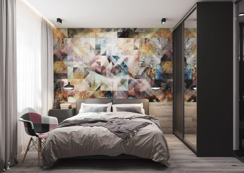 Современные стеганные обои в интерьере спальни