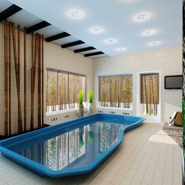 Дизайн-проект бассейна - дизайн интерьера крытого и открытого бассейна в  коттедже, частном доме