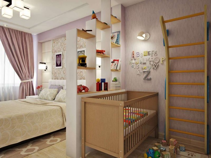 Дизайн комнаты для родителей с малышом