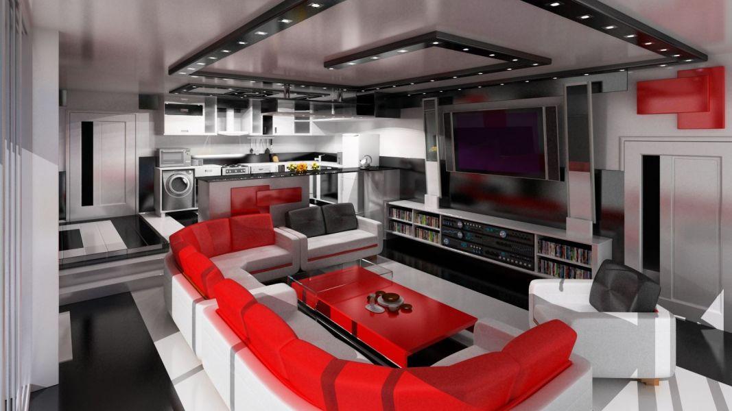 Ремонт гостиной в стиле хай-тек