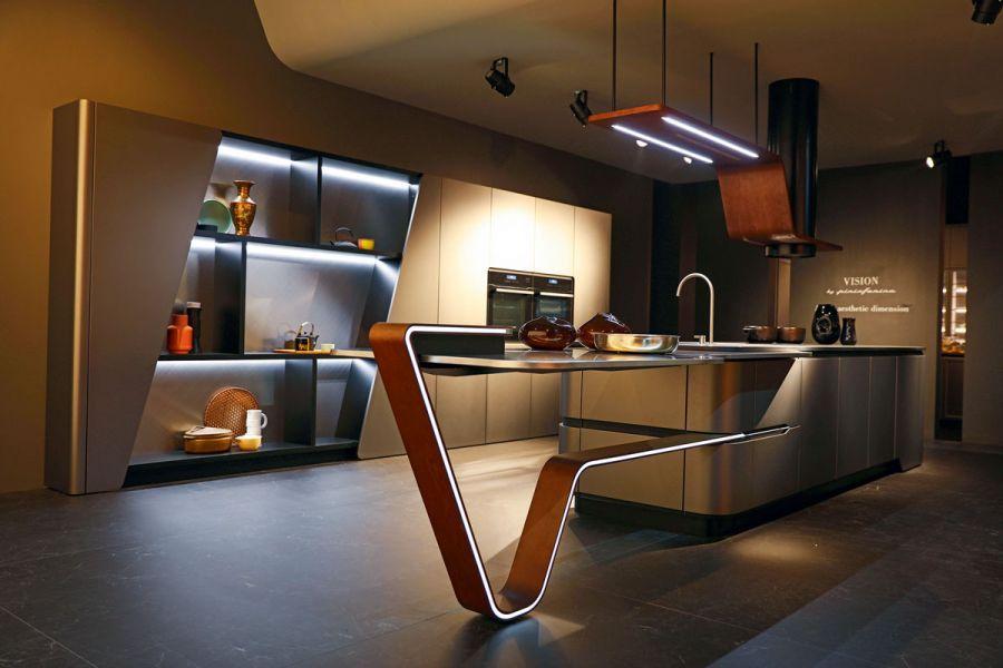 Оригинальный дизайн интерьера кухни-гостиной
