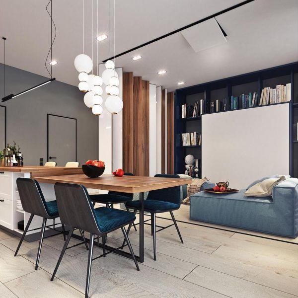 Гостиная с кухней с освещением в разных зонах