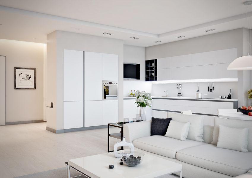 Современные белые кухни гостиные фото