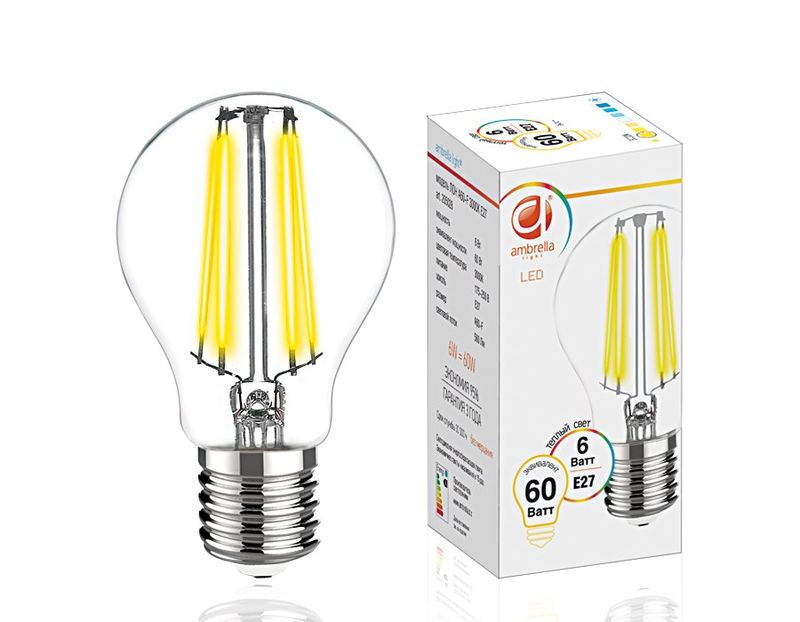Светодиодная лампа 6W E27 3000K FILAMENT 205028