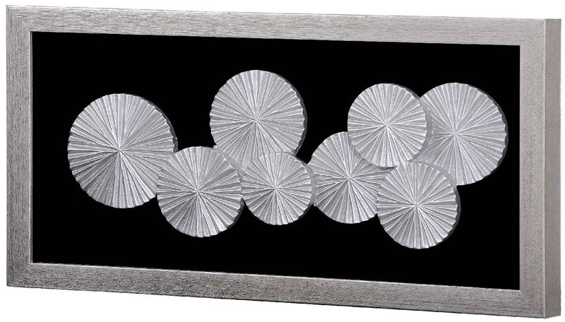Панно Зонтики в раме (рама серебро) 35935. Фото №1