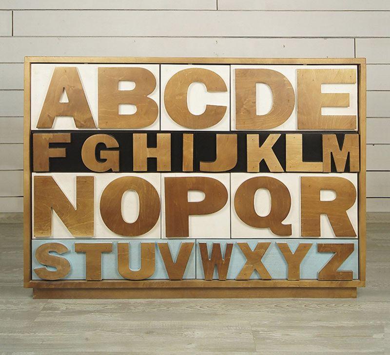 """Комод """"Alphabeto Birch"""" темный AL-01/1ETG/4"""