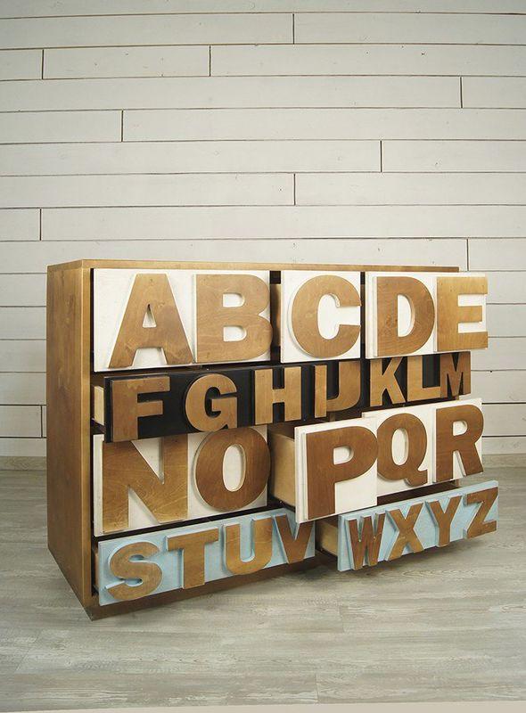 """Комод """"Alphabeto Birch"""" темный AL-01/1ETG/4. Фото №9"""
