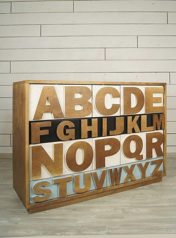 """Комод """"Alphabeto Birch"""" темный AL-01/1ETG/4. Фото №8"""