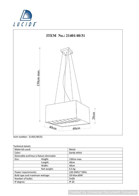Подвесной светильник Gladis 21401/40/31. Фото №3