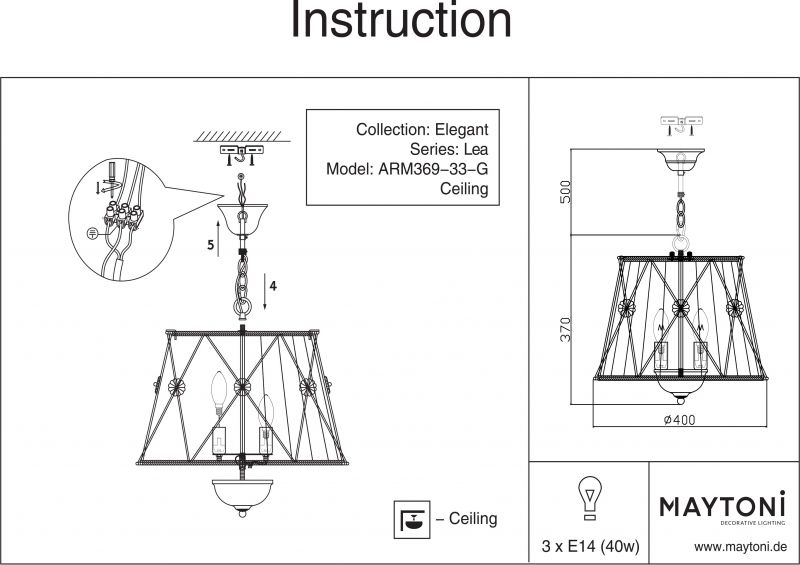 Подвесной светильник Elegant 37 ARM369-33-G. Фото №10