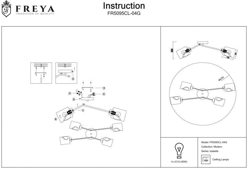 Потолочный светильник Freya Isabella FR5095CL-04G. Фото №2
