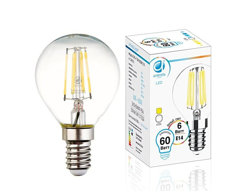 Лампа Filament LED G45-F 6W E14 4200K (60W) 204215