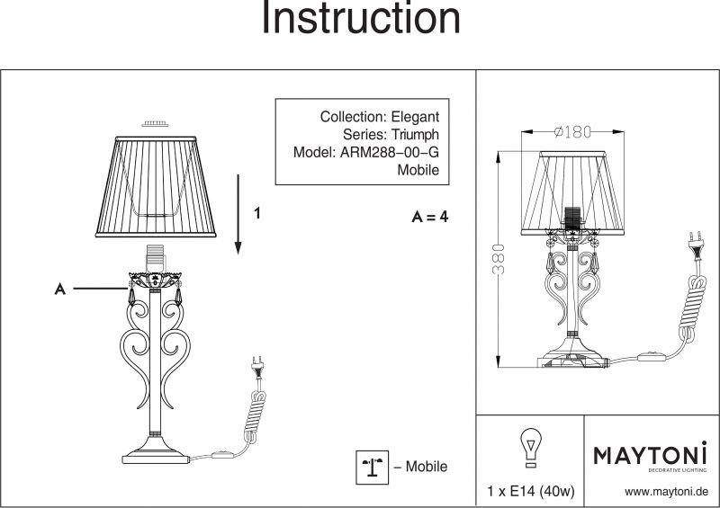 Настольная лампа Elegant 8 ARM288-00-G. Фото №6