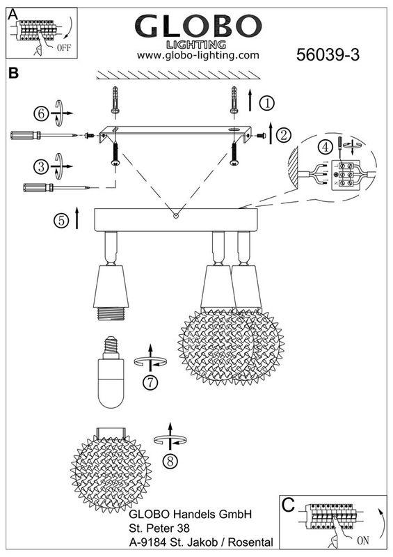 Светильник настенно-потолочный (спот) CICER 56039-3. Фото №3