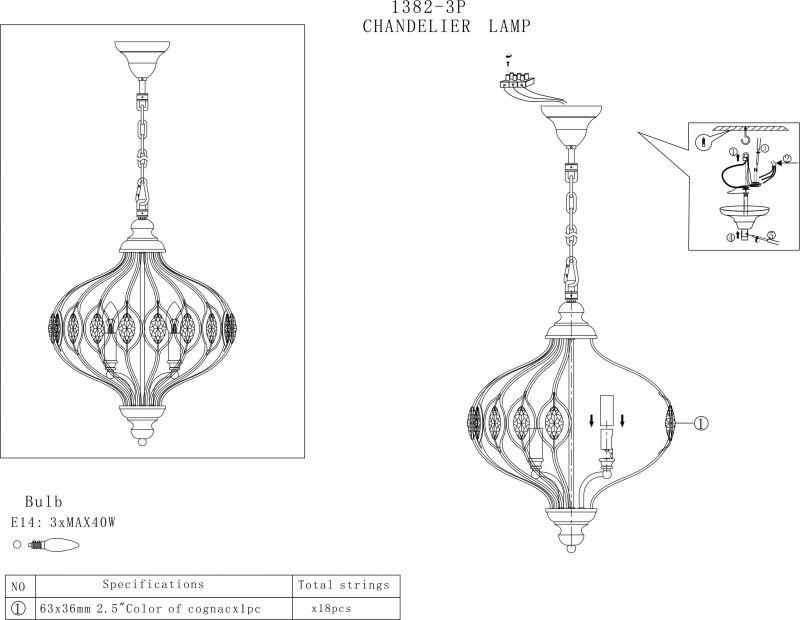 Люстра подвесная Fes 1382-3P. Фото №2