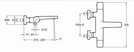 Термостатический настенный смеситель для ванны/душа Jacob Delafon Avid E97386-CP. Фото №1