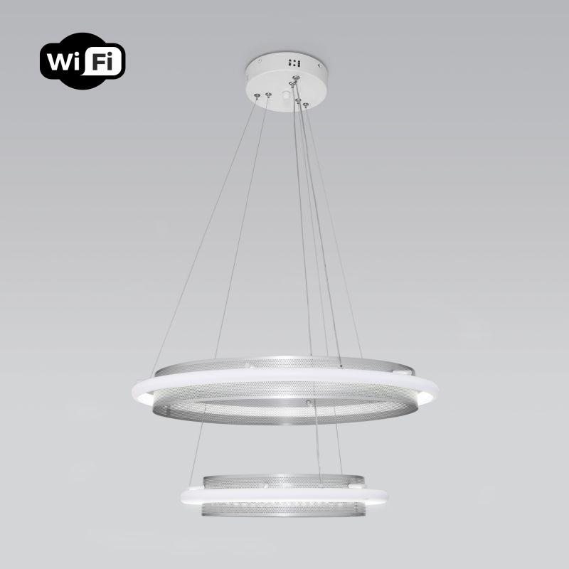Подвесной светодиодный светильник с управлением по Wi-Fi 90241/2 белый/ серебро Smart