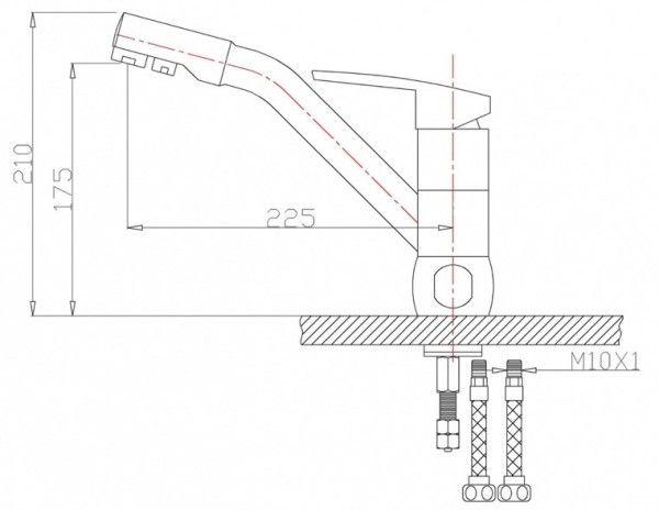 Смеситель для кухни Zorg Sanitary ZR 400 KF-12. Фото №1