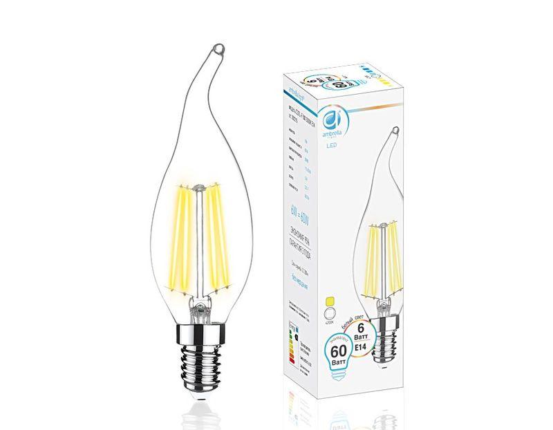 Светодиодная лампа 6W E14 4200K FILAMENT 202215