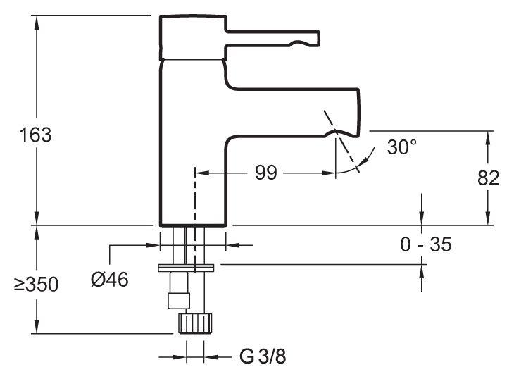 Однорычажный смеситель для раковины без донного клапана Jacob Delafon Cuff E98298-CP. Фото №1