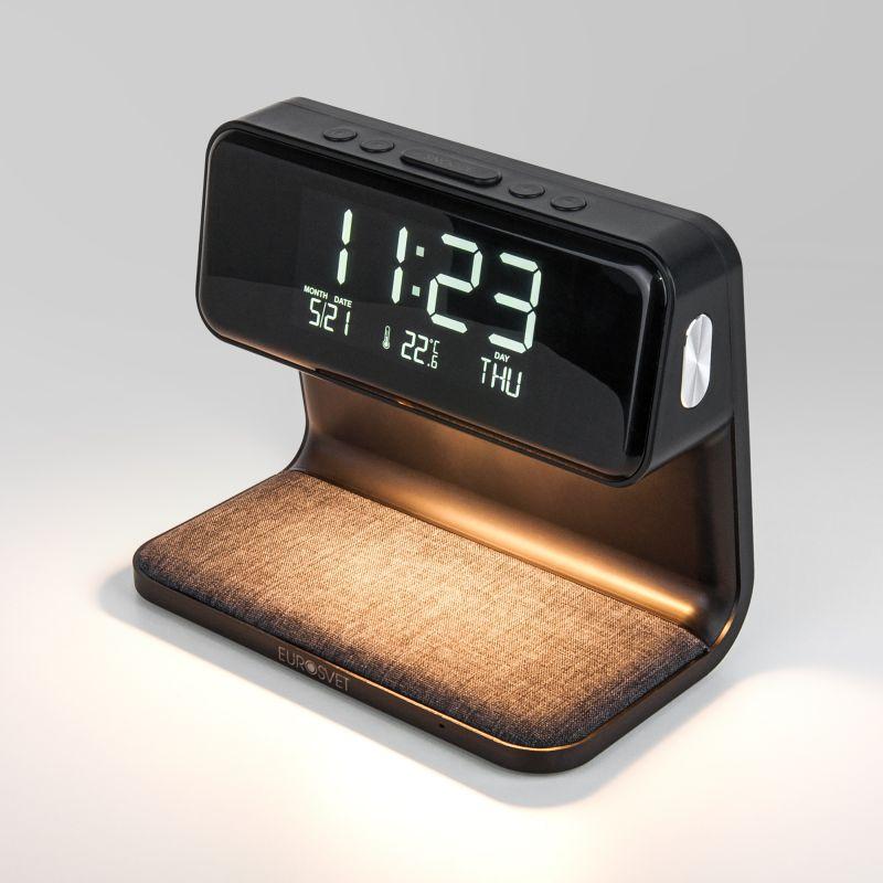 Светодиодная настольная лампа с беспроводной зарядкой и будильником Eurosvet Smith 80506/1 черный