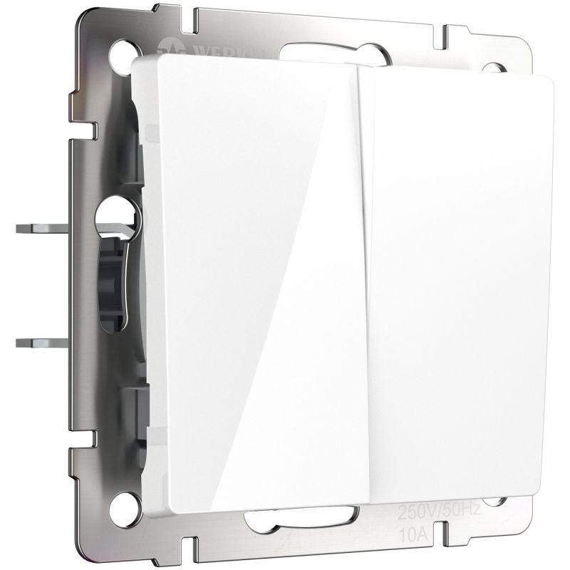 Выключатель двухклавишный проходной Werkel (белый) W1122001