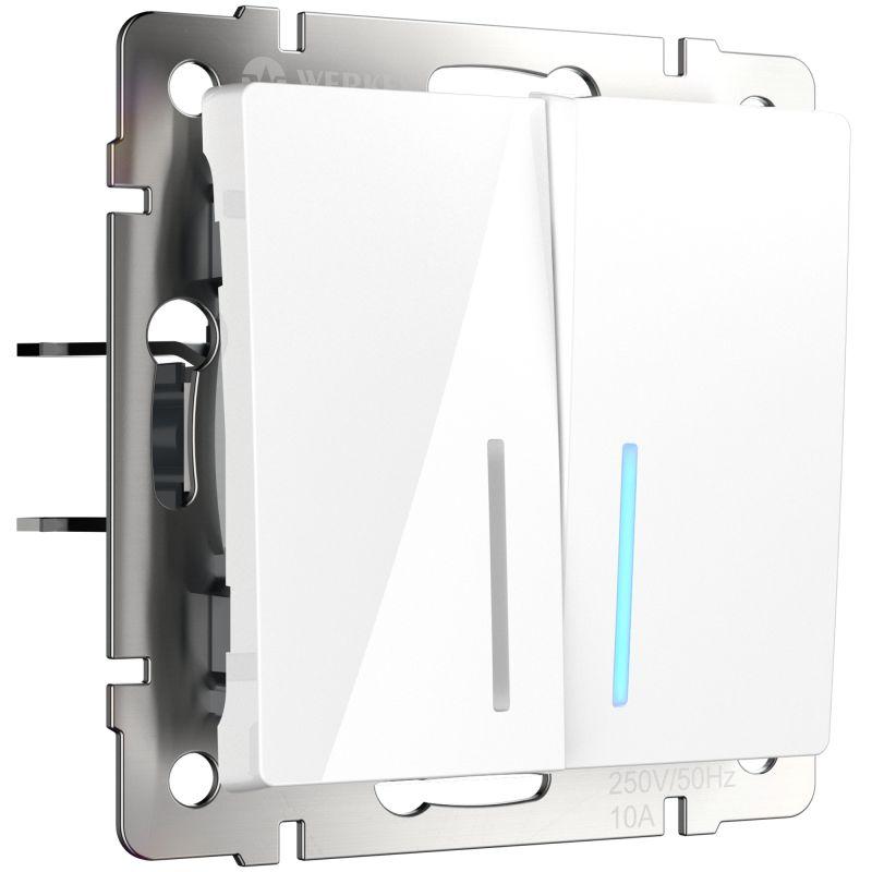 Выключатель двухклавишный проходной с подсветкой Werkel (белый) W1122101