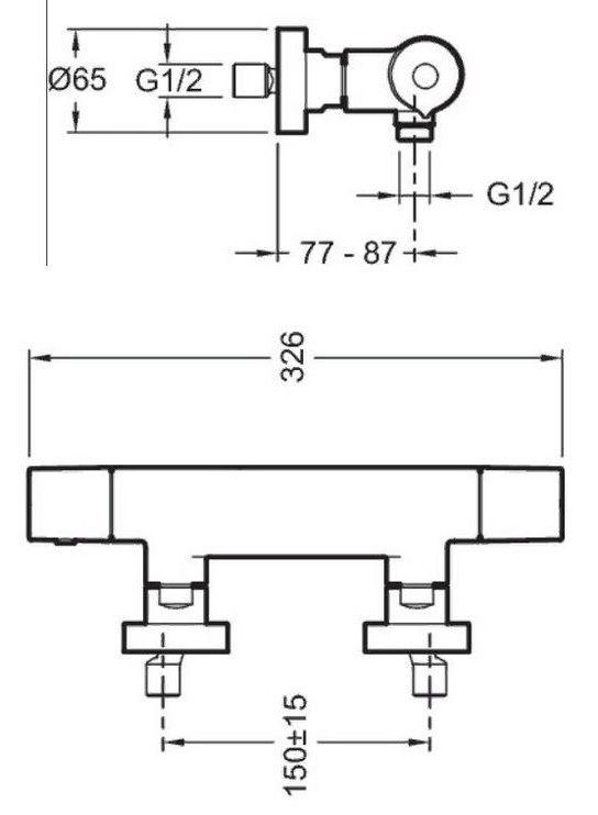 Настенный термостатический смеситель для душа Jacob Delafon Avid E97384-CP. Фото №1