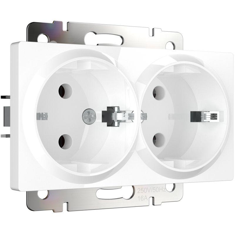 Электрическая розетка двойная с заземлением Werkel (белая) W1172001