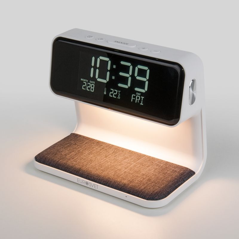 Светодиодная настольная лампа с беспроводной зарядкой и будильником Eurosvet Smith 80506/1 белый