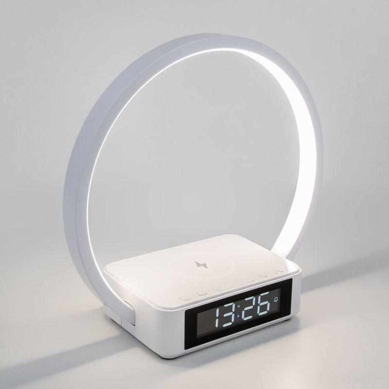 Сенсорная светодиодная настольная лампа с беспроводной зарядкой и будильником Eurosvet Timelight 80505/1 белый