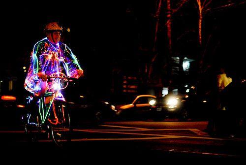 Подсветка на велосипедисте как элемент обеспечения безопасности